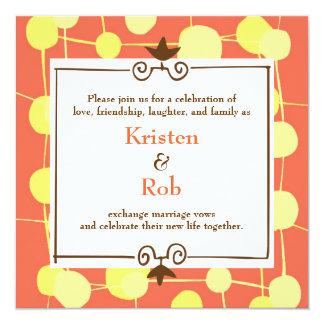 Dotty (Orange Sorbet) Wedding Invitation
