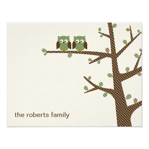 Dotty Owl Twins Thank You Cards Invitation Custom Invites