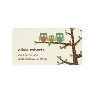 Dotty Owls Address Label