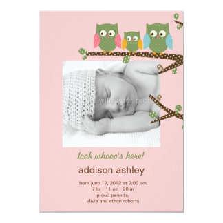 Dotty Owls Baby Girl Birth Announcement