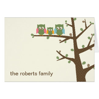 Dotty Owls Baby Thank You Card Card