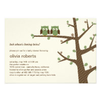 Dotty Owls Twins Baby Shower Invitation