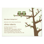 "Dotty Owls Twins Baby Shower Invitation 5"" X 7"" Invitation Card"