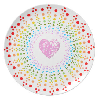 Dotty Rainbow Starburst plate with pink heart