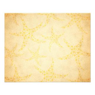 "Dotty Starfish on Vintage Style Pattern 4.5"" X 5.6"" Flyer"