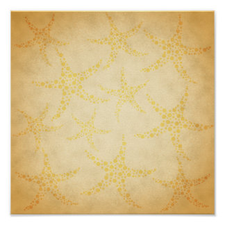 Dotty Starfish on Vintage Style Pattern Print