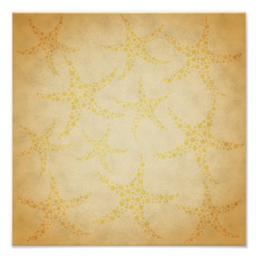 Beach Themed Dotty Starfish on Vintage Style Pattern Poster