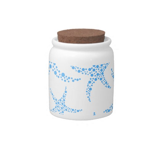 Dotty Starfish Pattern in Blue and White. Candy Dish
