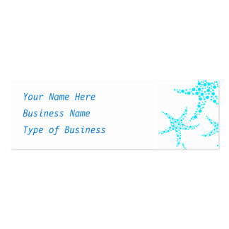 Dotty Starfish Pattern in Turquoise and White. Double-Sided Mini Business Cards (Pack Of 20)
