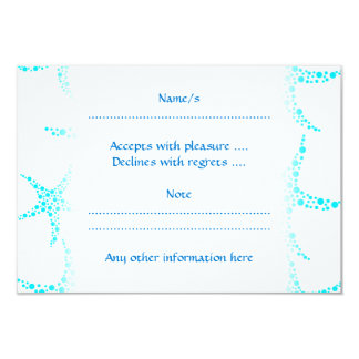 Dotty Starfish Pattern in Turquoise and White. 3.5x5 Paper Invitation Card