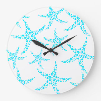 Dotty Starfish Pattern in Turquoise and White. Large Clock