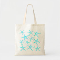 Dotty Starfish Pattern in Turquoise and White. Tote Bag
