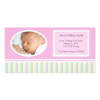 Dotty Stripes New Baby Birth Photo Cards