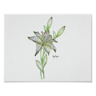 Dotwork Lily Print - Matte Finish Paper