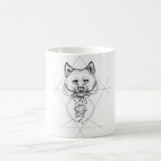 Dotwork wolf coffee mug