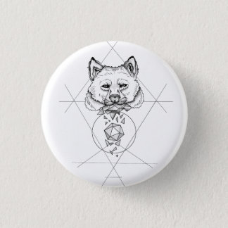 Dotwork wolf pinback button