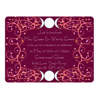 Double 3 in 1 Lesbian Wiccan Reception Invitation