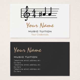 Double A Sharp Music Tutor Business Cards