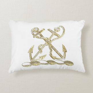 Double Anchor Heraldic Crest Emblem Faux Gold Accent Pillow