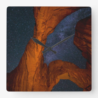 Double Arch And The Milky Way - Utah Square Wall Clock