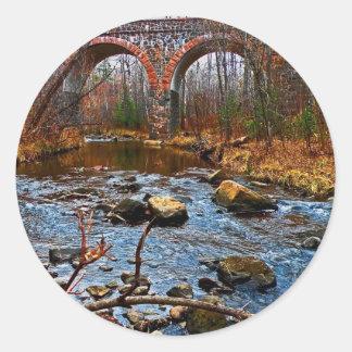Double Arch Bridge Classic Round Sticker