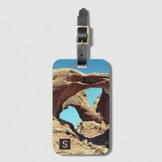 Double Arch Desert Photo with Monogram Bag Tag