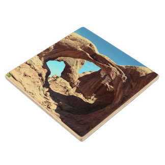 Double Arch Maple Wood Coaster