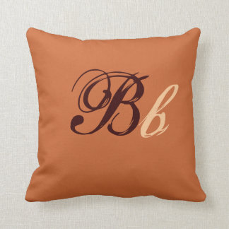 Double B Monogram in Brown and Beige I Throw Pillows