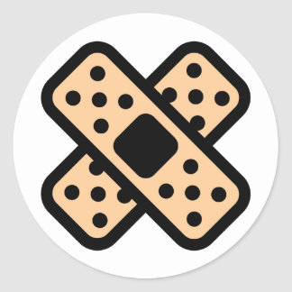 double band-aid classic round sticker