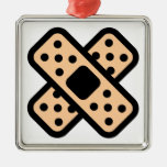 Double Band Aids Square Metal Christmas Ornament