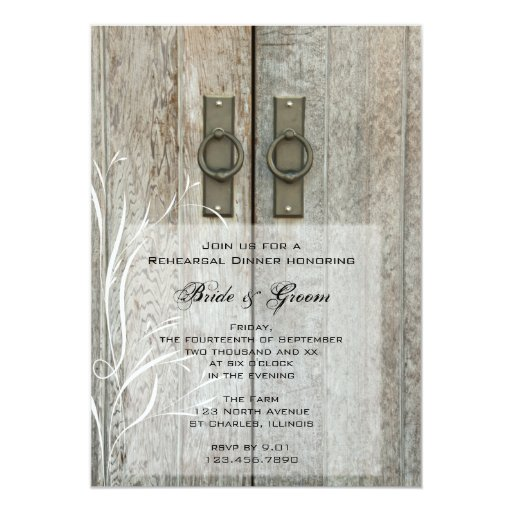 Double Barn Door Country Wedding Rehearsal Dinner 5x7 Paper Invitation Card