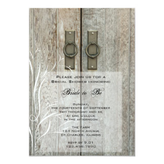 "Double Barn Doors Country Bridal Shower Invitation 5"" X 7"" Invitation Card"