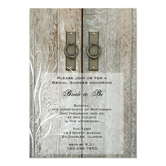 Double Barn Doors Country Bridal Shower Invitation