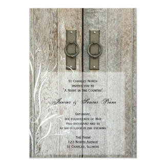 "Double Barn Doors Country Junior / Senior Prom 5"" X 7"" Invitation Card"