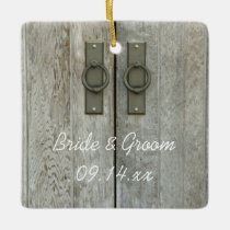 Double Barn Doors Country Wedding Ceramic Ornament