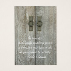 Double Barn Doors Country Wedding Charity Favor Business Card at Zazzle