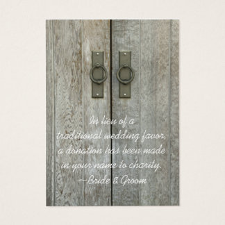 Double Barn Doors Country Wedding Charity Favor Business Card