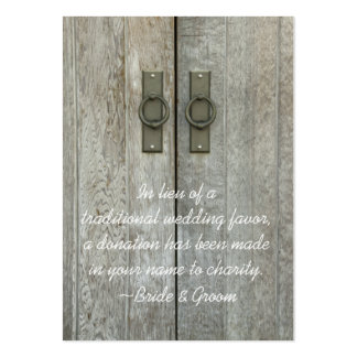 Double Barn Doors Country Wedding Charity Favor Large Business Card