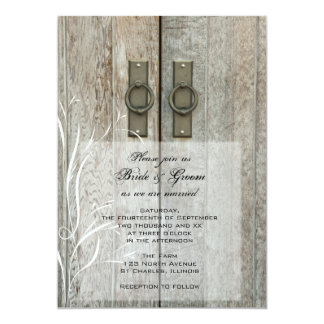"Double Barn Doors Country Wedding Invitation 5"" X 7"" Invitation Card"