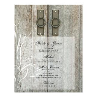 Double Barn Doors Country Wedding Menu Flyer Design