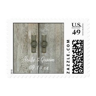 Double Barn Doors Country Wedding Postage Stamp