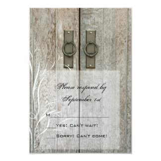 "Double Barn Doors Country Wedding Response Card 3.5"" X 5"" Invitation Card"