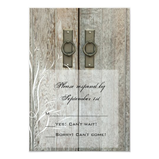 Double Barn Doors Country Wedding RSVP Response Card