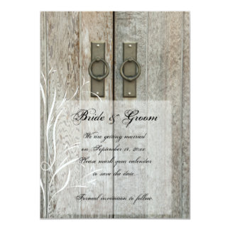"Double Barn Doors Country Wedding Save the Date 4.5"" X 6.25"" Invitation Card"