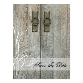 Double Barn Doors Country Wedding Save the Date Postcards