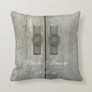 Double Barn Doors Country Wedding Throw Pillow