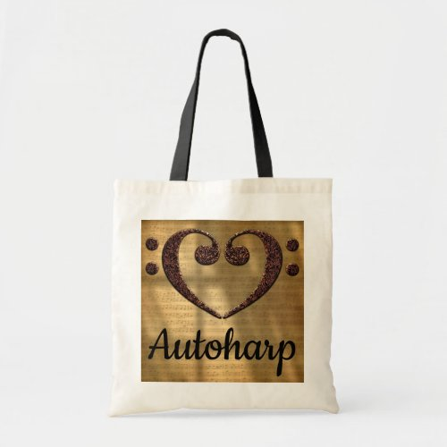 Double Bass Clef Heart Over Golden Sheet Music Autoharp Tote Bag