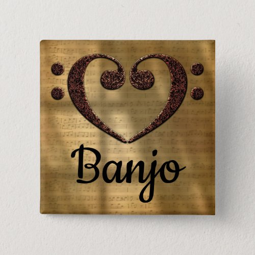 Double Bass Clef Heart Banjo Music Lover 2-inch Square Button