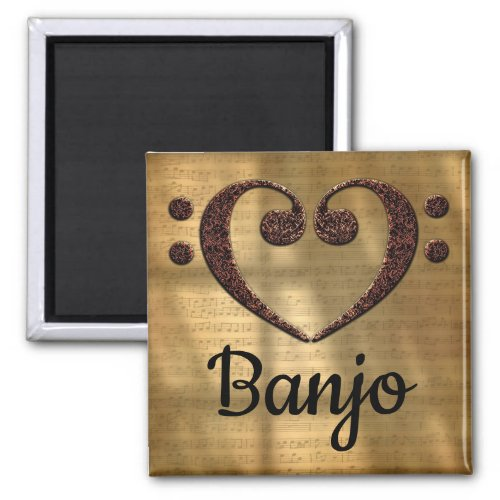 Double Bass Clef Heart Banjo Music Lover 2-inch Square Magnet