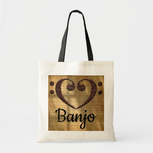 Double Bass Clef Heart Over Sheet Music Banjo Budget Tote Bag